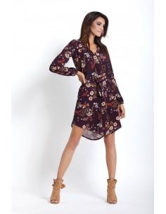 Sukienka codzienna szyfonowa - kolor brązowy