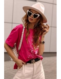 Kurtka jeans z różowymi...