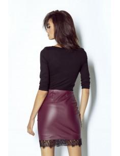 Granatowa sukienka z dłuższym tyłem -...