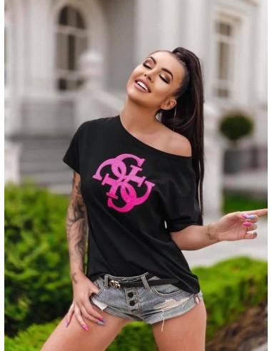 T-shirt GG Luise - czarna bluzka z cekinową aplikacją