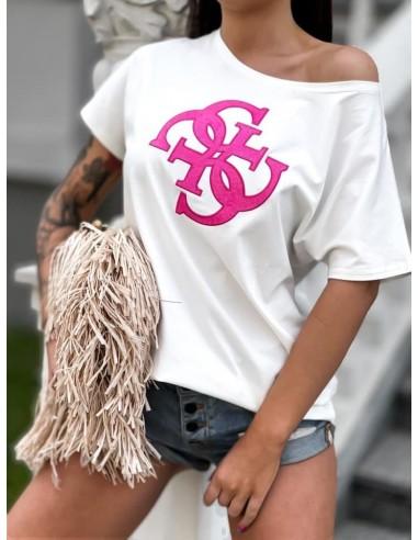 T-shirt GG Luise - bluzka a'la Guess w kolorze ecru