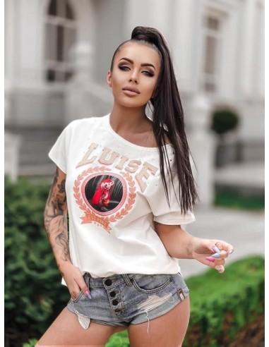 T-shirt Luise - bluzka w kolorze ecru z aplikacją