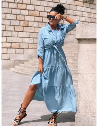 Komplet BLUE Zocco - sukienka długa i koszula w kolorze niebieskim