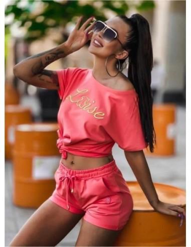 Komplet Luise - koralowe szorty i t-shirt
