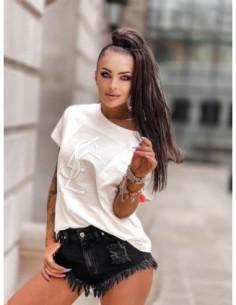 Bluzka biała z nadrukiem rozeta