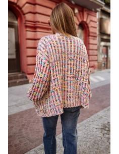 Sweter  koronka beżowy