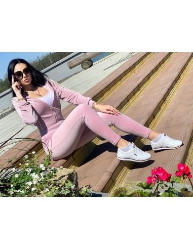 Welurowy dres damski s.Moriss w kolorze różowym