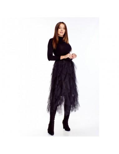 Czarna tiulowa spódnica midi z falbanami